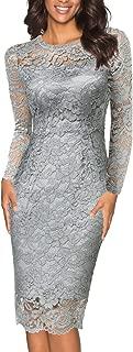 Women's Elegant Stretch Floral Lace Paryt Prom Midi Dress