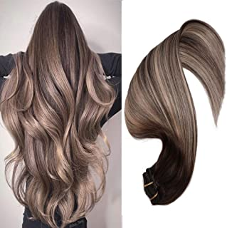Mushroom Brown Hair Extensions Clip In Hair Extensions Human Hair Natural Black Ombre Brown 120g 7Pcs Double Weft Thick End For Full Head No Tangle Silky Straight Balayage Extensions(MB#14'')
