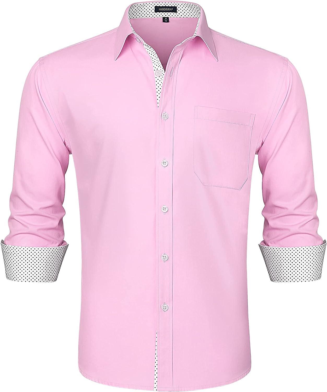 HISDERN Camisas Manga Larga para Hombres Formal Elegante Clásica Camisa de Algodon Camisas Casual para Hombre