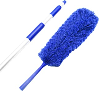 Extendable Microfiber Duster Extension Rod | Ceiling Fan Duster 20 Foot Reach | Cobweb 3-Stage Aluminum Telescoping Pole | Lightweight Webster Telescoping Cleaning Tool | U.S. Duster Co.