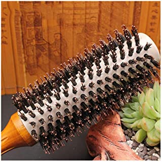 Lorachun Professional Boar Bristle Round Comb- Blow Dry Hairbrush - Boar Bristle & Nylon Pins For All Hair Styles Curly Hair Brush (Size : M)