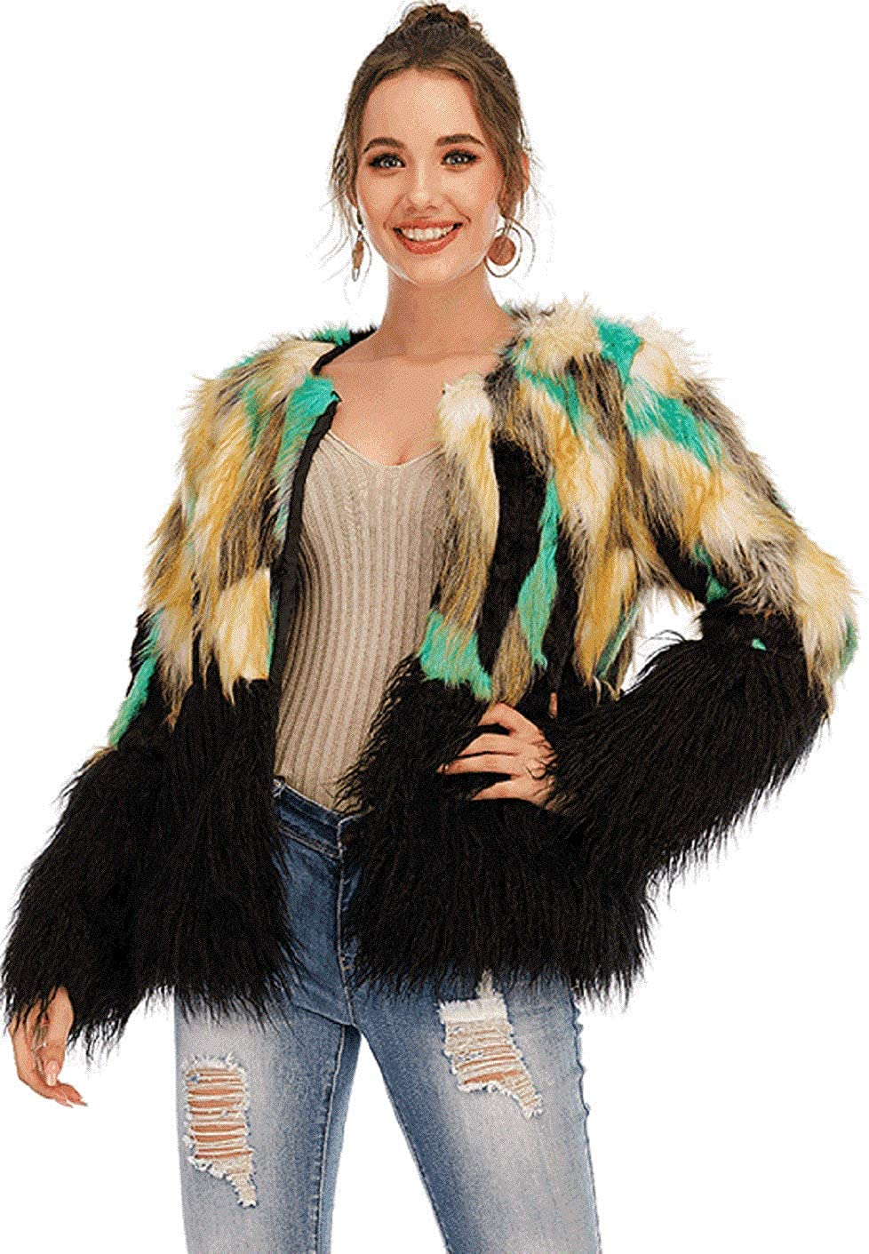 CHARTOU Women's Shaggy Faux Fur Multicolor Long Sleeve Warm Parka Coat
