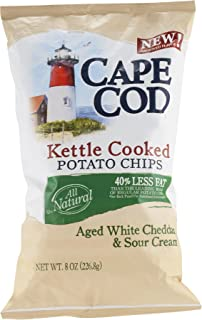 Cape Cod White Cheddar And Sour Cream Kettle Cooked Potato Chips 50% Less Fat, 8 oz