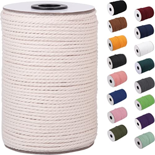 XKDOUS Macrame Cord 3mm x 109Yards, 100% Natural Cotton Macrame Rope Cotton Cord, Perfect Macrame Supplies for Wall H...