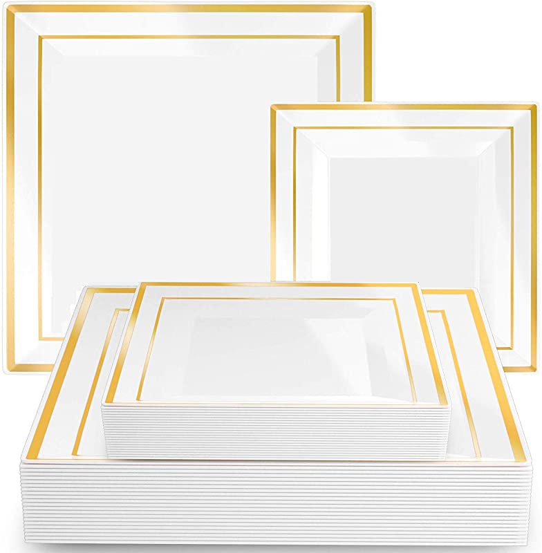 Square Plates Set Of 40 White Party Plastic Plates With Gold Rim Includes 20 Dinner Plates 10 And 20 Salad Dessert Plates 7