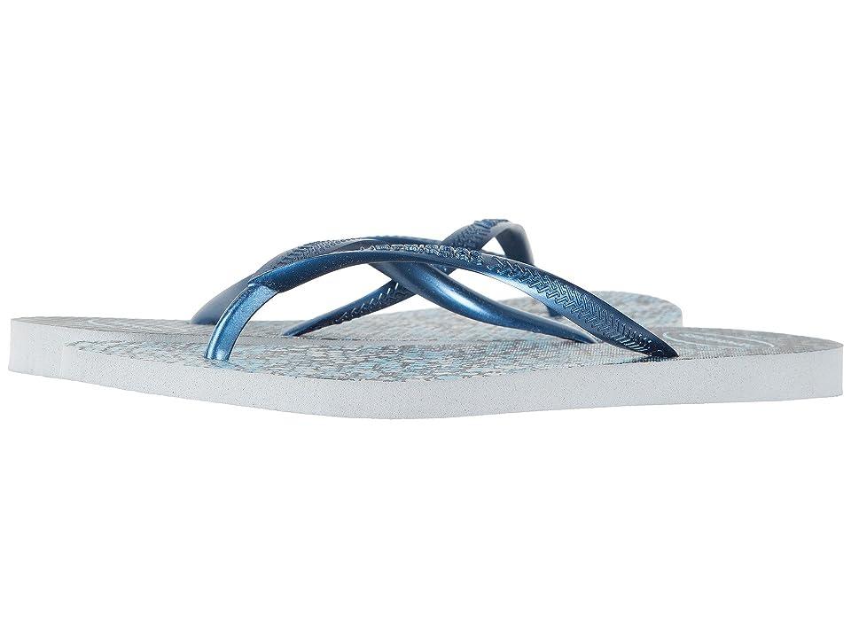 Havaianas Slim Animals Flip Flops (Grey/Navy Blue) Women