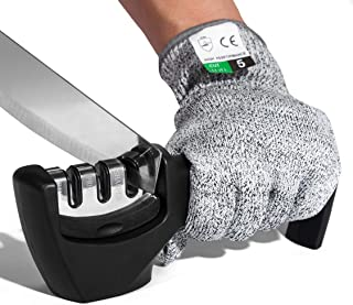 Knife Sharpener 3-Slot Quality Kitchen Knife Accessories to Repair, Grind, Polish Blade,Professional Knife Sharpening Tool for Kitchen Knives,Easy Manual Sharpener with Cut-Resistant Glove