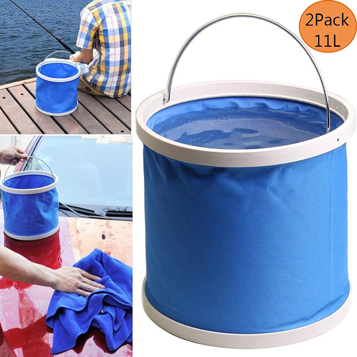 2 PCS Premium Compact Collapsible Bucket 11L Portable Folding Water Container  Lightweight & Durable  Includes Handy, For Cleaning Car Fishing Cookout Field Camping Travel, color Random