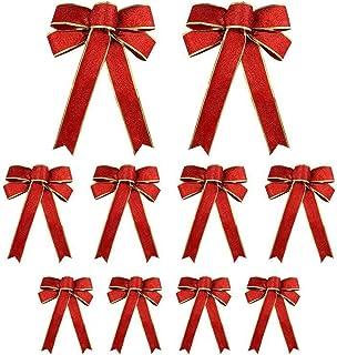 Seasonal Décor 10 قطع بريق عيد الميلاد القوس مع 3 أحجام شجرة عيد الميلاد ديكورات الشريط الانحناء عيد الميلاد إكليل جارلاند...