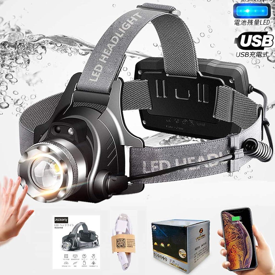 ジーンズ銀河平らなヘッドライト LED ヘッドランプusb充電式 高輝度CREE T6 人感センサー 防水仕様 角度調節可能 ズーム機能 点灯3モード