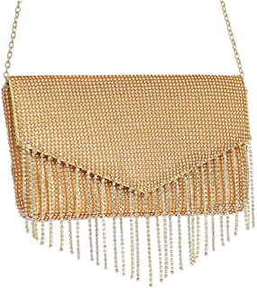 Women's Tassel Rhinestone Chain Shoulder Messenger Bag Banquet Wedding Celebration Party Evening Dress Crystal Clutch Bag Wallet Size: 23 * 3 * 12cm Fashion (Color : Gold)