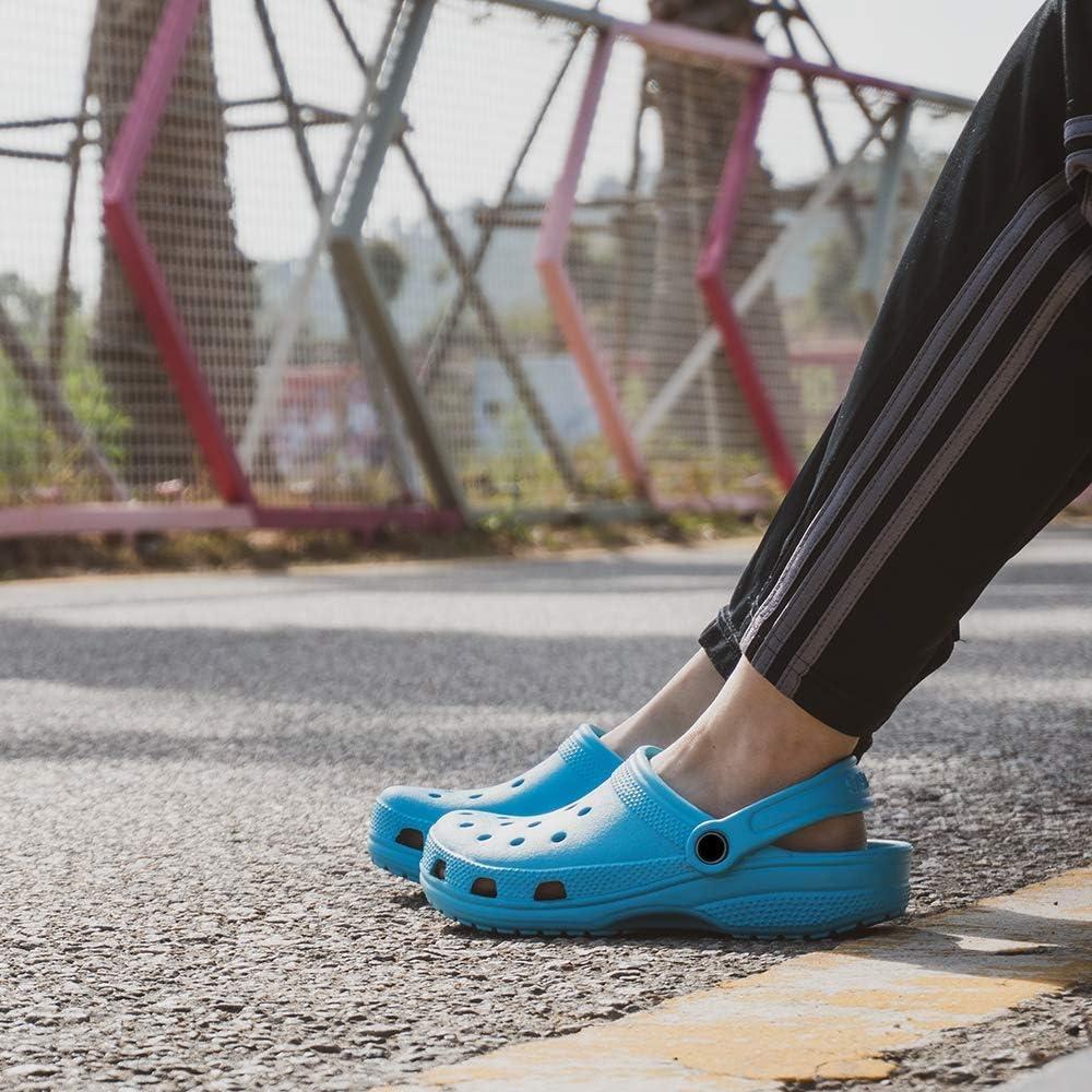 Mens Clogs Garden Sandals Slippers Lightweight Summer Beach Outdoor Yard Pool Rubber Water Shoes Quick-Drying Beige Black Blue Grey UK6- UK15(EU39-EU50) 1 2 Light Blue