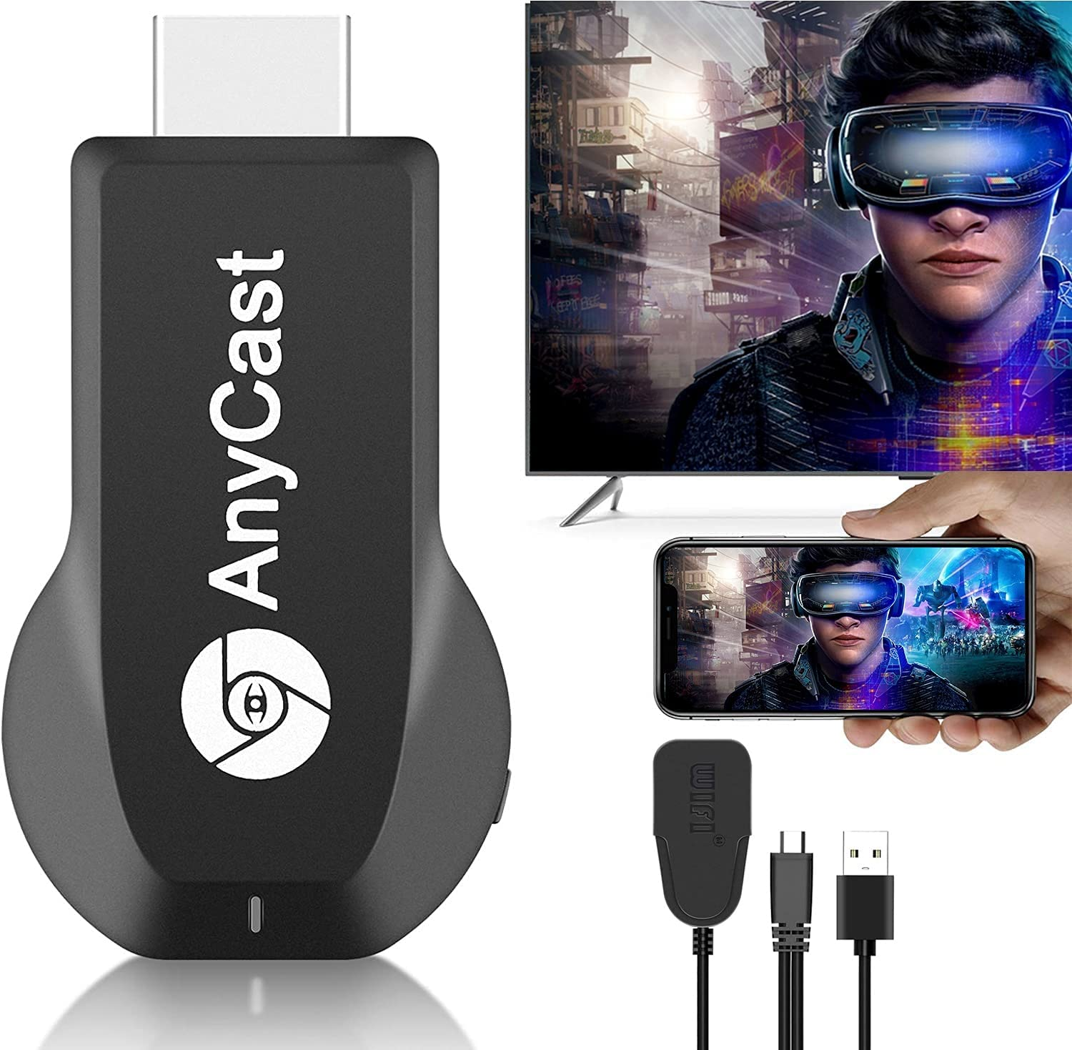 Streaming Media Players 【2021】 Wireless HDMI Display Adapter 4K Ultra HD HDR, Streaming Dongle Receiver for iPad/iPhone/iOS/Android/Window/Mac OS Laptop, Tablet, PC to TV/Monitor/Projector, Support Ai