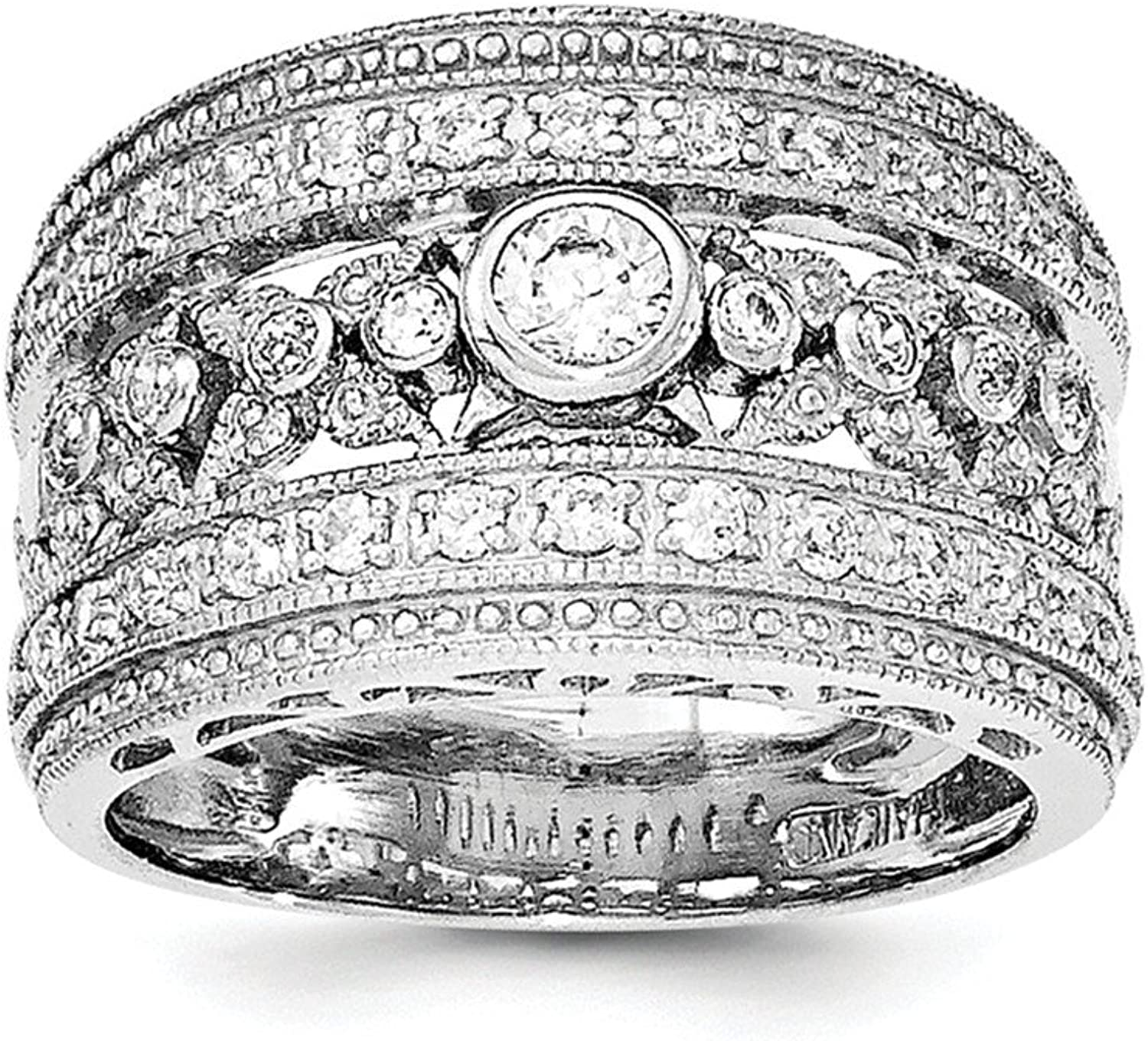 Sterling Silver Rhodium Plated Cubic Zirconia Wedding Ring