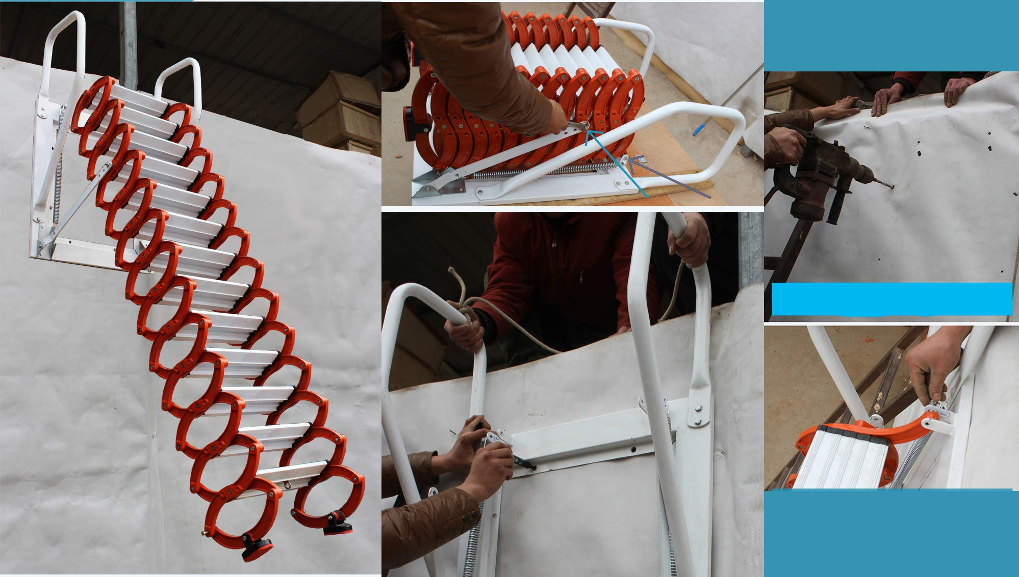 Inicio Loft Escaleras retráctiles Colgante de pared Loft invisible Escalera abatible Bisagra La escalera plegable se puede personalizar 2M-4M (Altura vertical 3M): Amazon.es: Bricolaje y herramientas