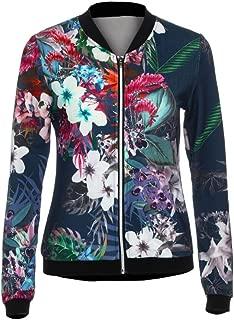 Longra Womens Casual Ladies Biker Celeb Camo Flower Floral Print Zipper up Bomber Jacket Baseball Fashion Coat