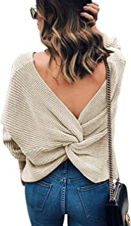 Leorvun Women's Sexy Sweaters Backless Off The Shoulder Pullover Slouchy Dolman Knitted Sweater2 wear Style