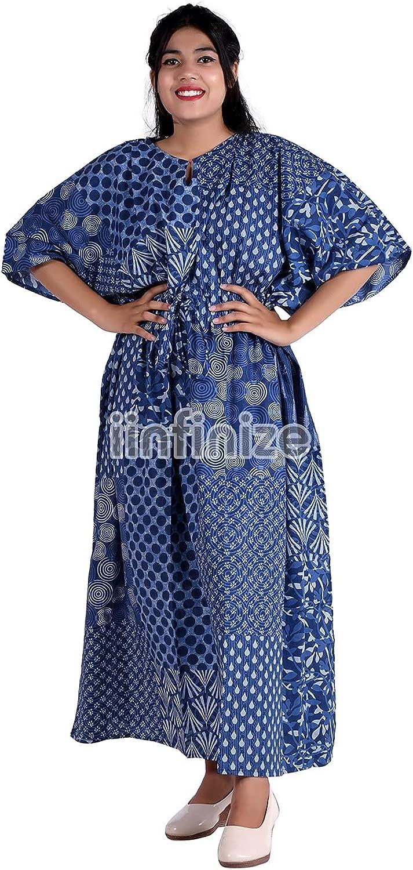 iinfinize Indian Summer Maxi Dress Beach Dress Swim Wear Bikini Womens Cotton Kaftan Nighty Cotton Kaftan Tops Cotton Bikini Cover Ups Blue