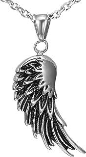 Urban Jewelry Vintage Men's Stainless Steel Angel Wing Pendant (Black, Silver)