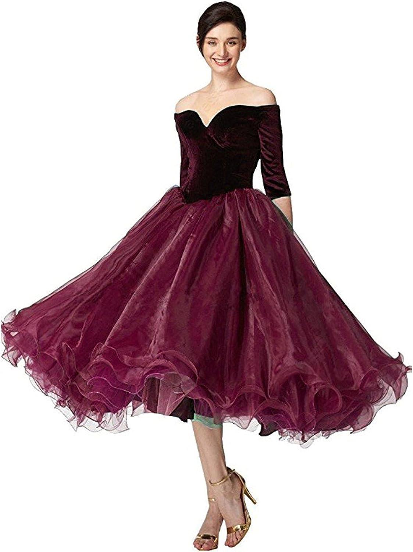Ellystar Women's Off Shoulder 3 4 Sleeve with Velvet Aline Homecoming Dresses