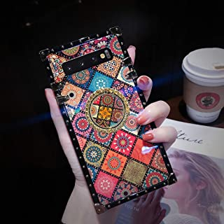 Compatible for Samsung Galaxy Note 9 Classical Flower Case Reinforced Corners TPU Cushion Cute Retro Blu - ray Square TPU Shock Absorption Back Cover - Folk Custom