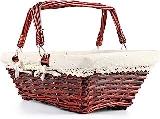 MEIEM Easter Basket Gift Basket Wicker Woven Picnic Basket with Double Folding Handles Rectangular Willow Basket (Auburn)