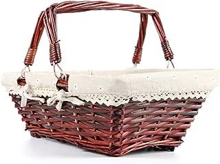 MEIEM Wicker Basket Gift Baskets Empty Rectangular Willow Woven Picnic Basket Easter Candy Basket Large Storage Basket Wine Basket with Handle Egg Gathering Wedding Basket (Brown)