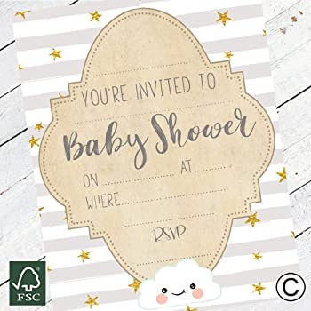 with Envelopes Neutral Boy or Girl Write-In Pastel Baby Shower Invitations 8 count