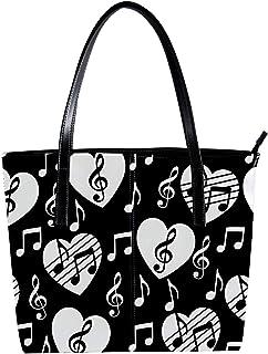 Lorvies - Borsa a tracolla da donna in pelle PU, con chiave di violino, con borsa a mano