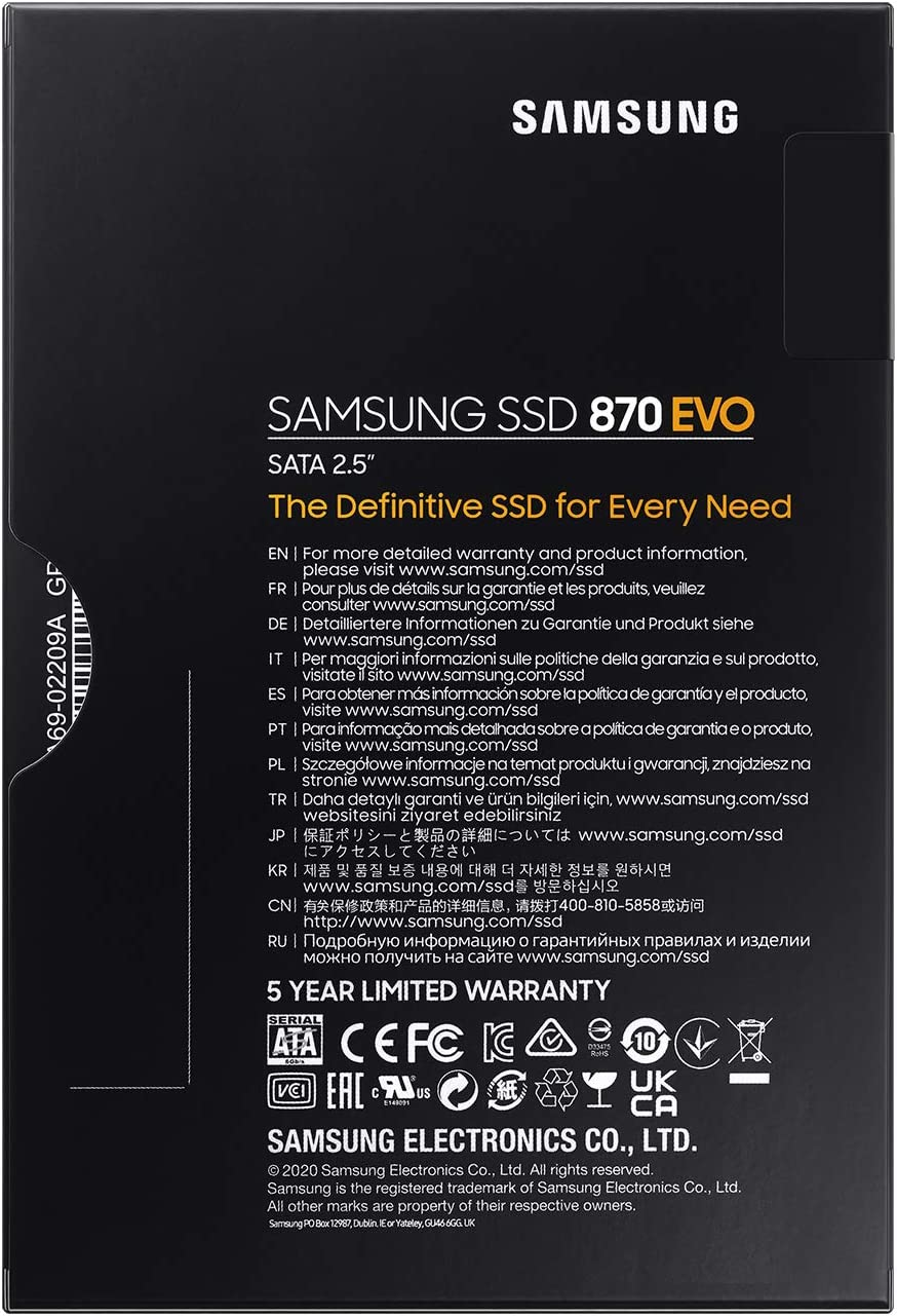 Samsung SSD 870 EVO Intelligent TurboWrite Schwarz 250 GB Formfaktor 2,5 Zoll Magician 6 Software