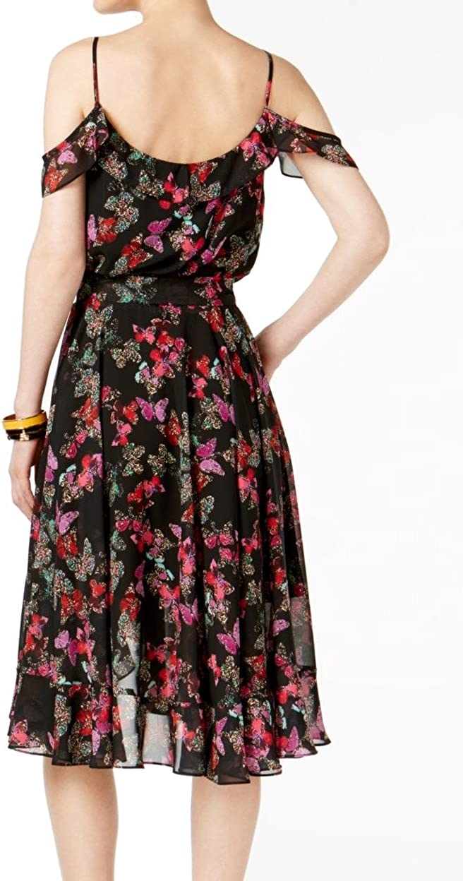 Betsey Johnson Women's Printed Cold-Shoulder Wrap Dress