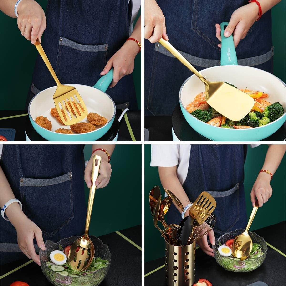 13 piezas juego de cucharas de cocina de titanio chapado en oro con soporte para utensilios Berglander Juego de utensilios de cocina de acero inoxidable dorado apto para lavavajillas