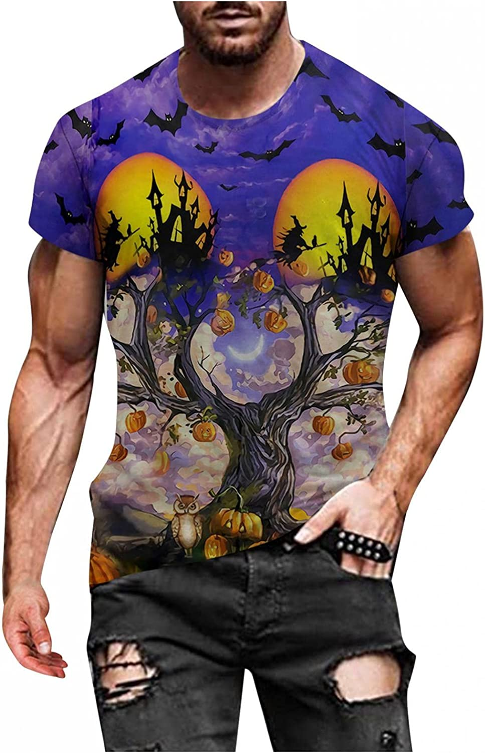 Aayomet Men's T Shirts Halloween Printed Long Sleeve Round Neck Sweatshirts Casual Workout Sport Tee Shirts Blouses Tops