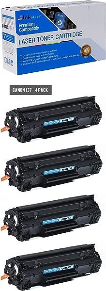 Inksters 兼容黑色碳粉盒更换适用于佳能 137 PT137 兼容 ImageCLASS MF212W MF216N MF227DW MF229DW 4 包