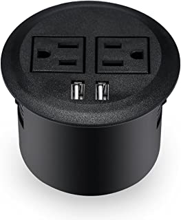 Kungfuking Desktop Power Grommet Power Outlet Socket Desk Data Center 2 Outlet with 2 USB Ports with 10 FT Extension Cord