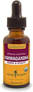 Herb Pharm Certified Organic Ashwagandha Extract for Energy and Vitality, Alcohol-Free Glycerite, 1 Ounce