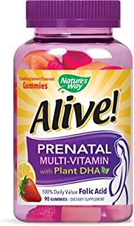 Nature's Way Alive!® Prenatal Gummy Multivitamin with DHA, Fruit and Veggie Blend (50mg per serving), Full B Vitamin Complex, Gluten Free, Made with Pectin, 90 Gummies