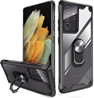 QHOHQ Hoesje voor Samsung Galaxy S21 Ultra 5G 6.8 inch, [360 ° roterende stand] [5 keer militaire kwaliteit anti-valbesche...