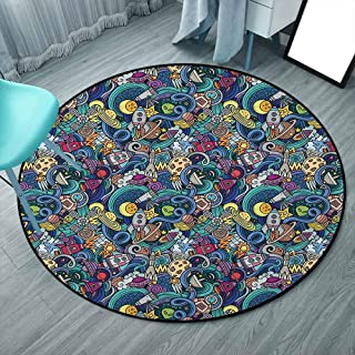 Rugs Round Rug Circle Rugs for Living Room and Dining Room Rugs 5 Feet, Multicolor, Space, Abstract Cartoon Science Fiction Themed Image with Swirl Waves Asteroids Telescope