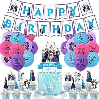 Frozen Fiesta Cumpleaños Decoración - WENTS 47PCS Azul Fiesta Guirnalda de Globos Cake Cupcake Topper Banner para Niñas Fr...