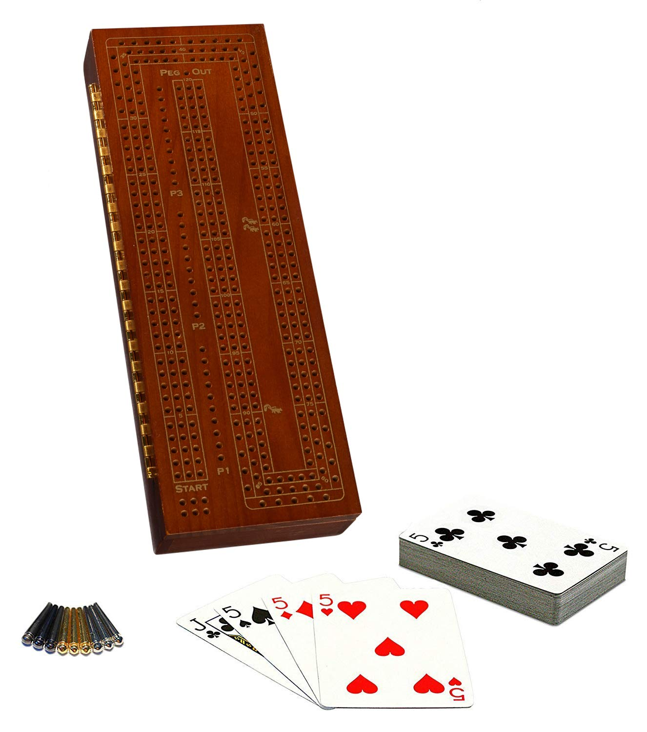 Solid Walnut Wood Continuous 3 Track Board with Metal Classic Cribbage Set