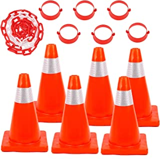 6Pack 18inch Traffic Safety Cones with Reflective Collars PVC Unbreakable Orange Construction Cone with 32 feet Chain and ...