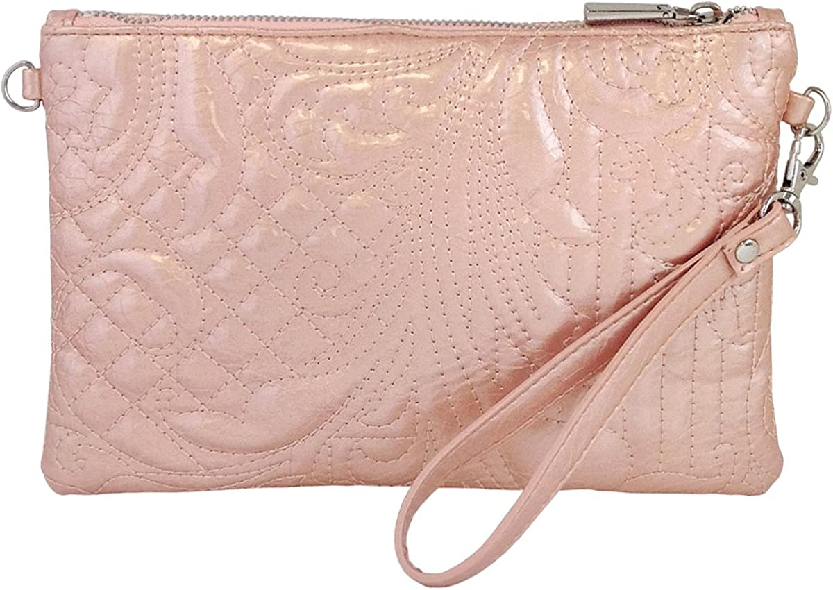 Embroidered Patent Leather Wristlet with Card Sleeves