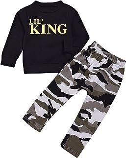 puseky Conjunto de camiseta y pantalones de camuflaje para niños pequeños con letras