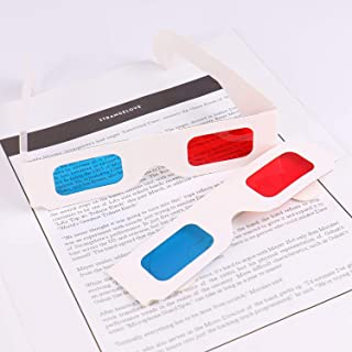 Monrocco 50 Pairs 3D Glasses Red Cyan White Cardboard Frame Cardboard Glasses Frames