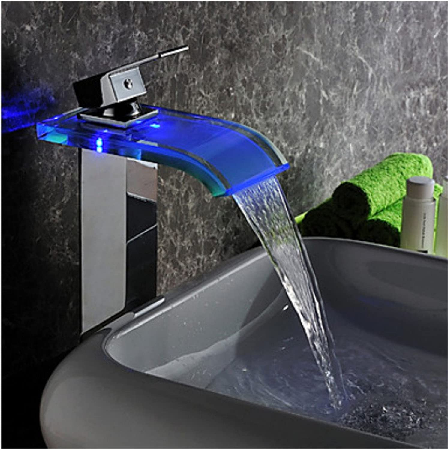 Single led shower basin faucet waterfall pure copper faucet
