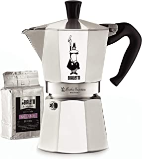 Bialetti 06651 Moka Express Stovetop Maker with Free Ground Coffee, 6 -Cup & Coffee, Aluminum