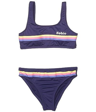 Hobie Kids Heritage Stripe Tank Bralette Top Hipster Bottoms Set (Big Kids) (Navy) Girl