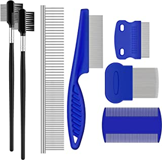 KASTWAVE Tear Stain Remover Comb, Double-Sided Dog Eye Comb Brush, Dog Flea Combs Double Head Grooming Comb Multipurpose T...