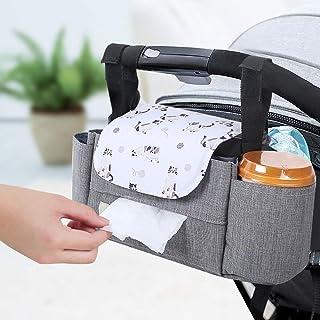 Bolsa Organizador Almacenamiento de Cochecito de Bebé MultifuncionalBolsa para PañalesSoporte para Carro de Bebé con VelcroGran Espacio de AlmacenamientoImpermeable (Gatito Gris)